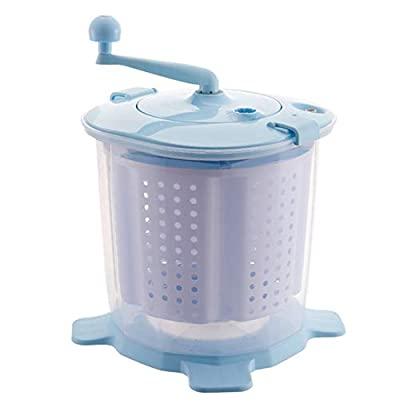 Portable Hand-operated Manual Washing Machine Hand Cranking Mini Washer Non-electric for Camping Dorms Apartments College Rooms,Blue