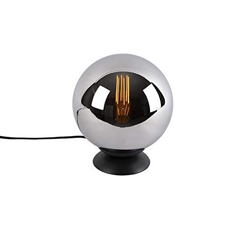QAZQA Art Deco Art deco tafellamp zwart met smoke glas - Pallon Glas/Staal Bol Geschikt voor LED Max. 1 x 25 Watt