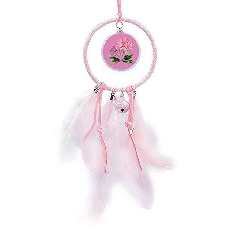 Beauty Gift Atrapasueños de crisantemo rosa acuarela pequeña campana decoración dormitorio