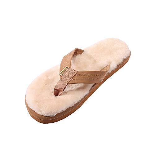 Bonsai Sandals Mens Sheepskin Sandal (12, Brown)
