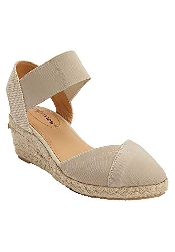 Comfortview Women's Wide Width The Abra Espadrille Sneaker - 9 W, New Khaki Brown