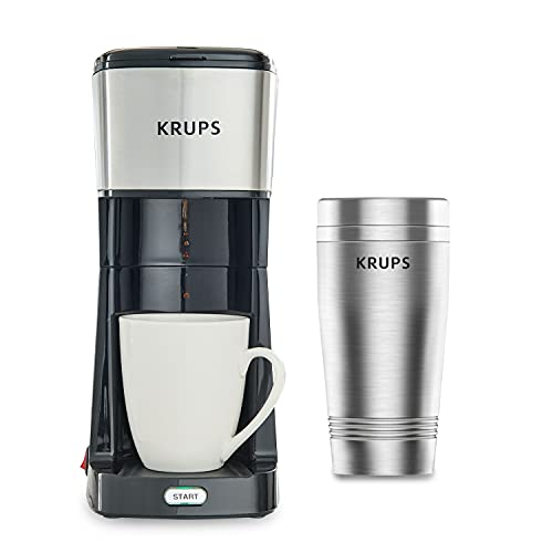 KRUPS Simply Brew to Go Single Serve Drip Coffee Maker with Travel Tumbler Included, 12 fluid ounces, Silver and Black
