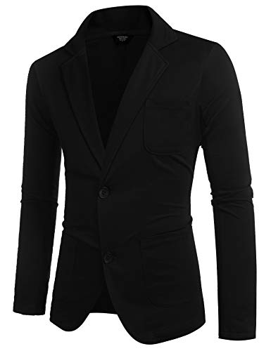COOFANDY Lightweight Sports Coats Two Button Cotton BCasual Suit Blazer Jackets Black