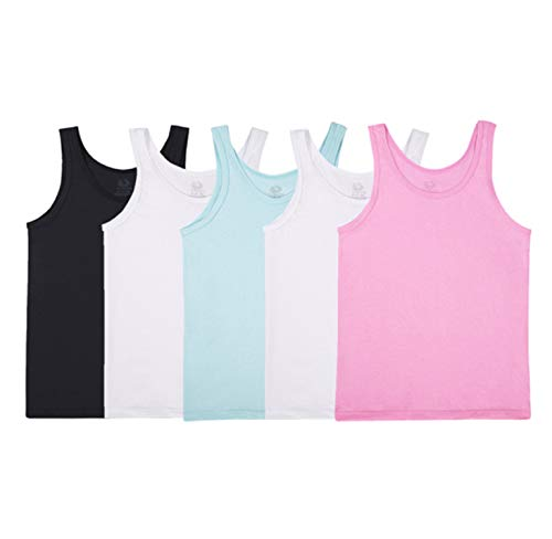 Fruit of the Loom Girls' Big Undershirts (Camis & Tanks), Tank - 5 Pack - Assorted, Large