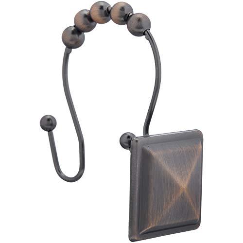 Amazon Basics – Haken für Duschvorhang, spitzes Quadrat, Bronze mit Ölschliff