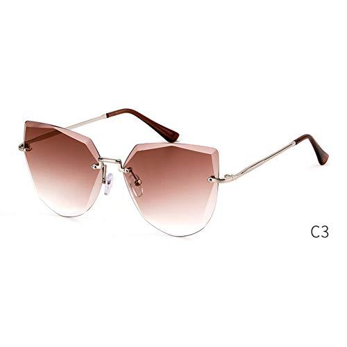 ZRTYJ Occhiali da Sole Occhiali da Sole Senza Montatura per Occhiali da Sole Donne Designer di Marca Vintage Cool Lady Occhiali da Sole Sfumature sfumate di Cristallo