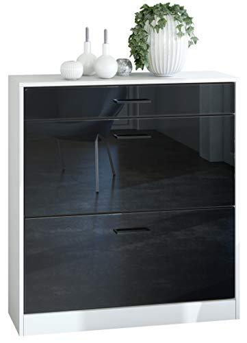 Zapatero Elvas 89 x 95.5 x 27 cm, Cuerpo en Blanco Mate, Frente en Negro de Alto Brillo
