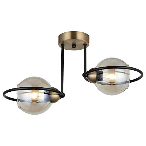 Homemania Lampada A Sospensione, Metallo, Vetro, Oro, Nero