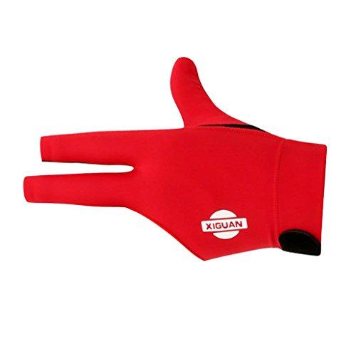 Toygogo 3 Finger Wearable Stretchy Snooker Glove Pool Billard Handschuh Für Die Linke Hand 3 Farboptionen - Rot