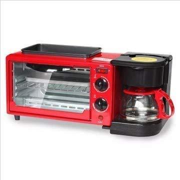 Máquina de hacer pan Tostadora 3-en-1 Multifunción desayuno Máquina Cafetera sartén horno de pan frito huevo fabricante de café Olla de 220V (rojo) SLONGS