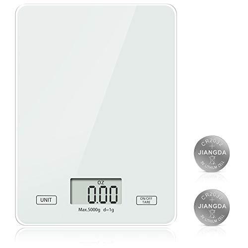 Meromore Digitale Küchenwaage, Digitalwaage Digital Küchenwaagen Elektronische Waage Küche mit gehärtetem Glas LCD Display 5kg / 11lb, hohe Präzision auf bis zu 1g, Tara-Funktion