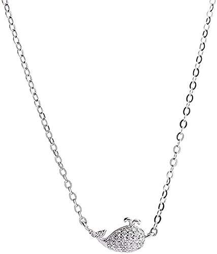 ZPPYMXGZ Co.,ltd Collar de Moda Collar Moderno Popular Exquisito Collar de Ballena Plateada Solo Estudiante Estudiante Clavícula Cadena Párrafo Sexo Corto Ella