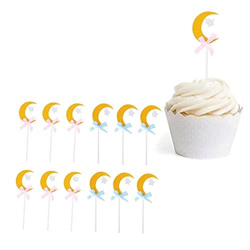 12 piezas de adornos para cupcakes de estrella y luna con purpurina, adorno para cupcakes con forma de estrella y luna de papel brillante, decoración para fiesta de bienvenida al bebé de compromiso de