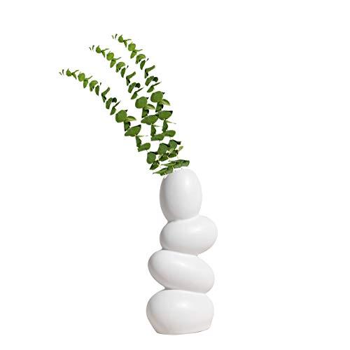 XIUWOUG Jarrón de cerámica abstracto, jarrón decorativo único y minimalista, escultura moderna para salón, color blanco