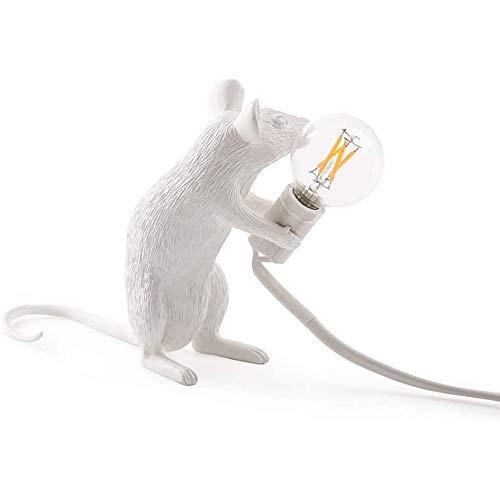 Maus Tischlampe Creative Resin Schreibtisch Licht Nachttischlampe, Leselicht, Es ist die Perfekte Leuchte für Zuhause und Jeden Ort, den Sie Mögen - Sitzhaltung Harz, Weiß