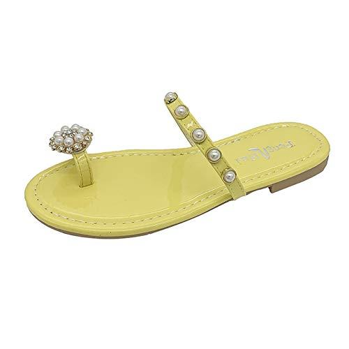 NACOLA Damen Flip-Flops, Zehenring Perle Bohemian Casual Schuhe Strand Sandalen Hausschuhe, Gelb - gelb - Größe: 36.5 EU