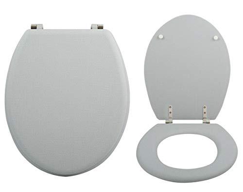 MSV WC-bril toiletdeksel grijs gemarmerde scharnieren van roestvrij staal - hoogwaardige en stabiele kwaliteit - grijs