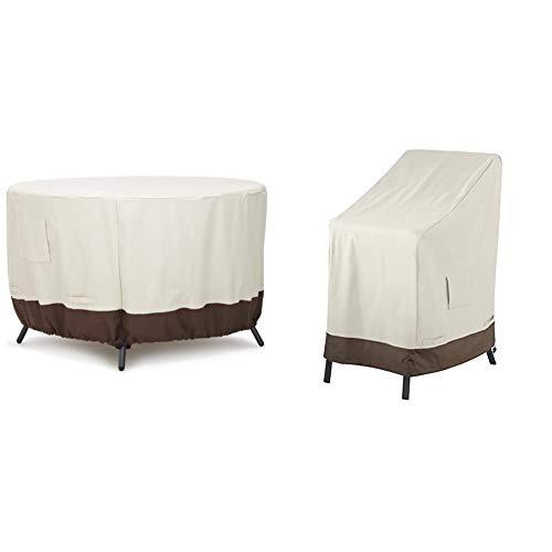 Amazon Basics Funda Protectora para Mesa de Comedor Redonda (120cm) + Funda Protectora para sillas apilables