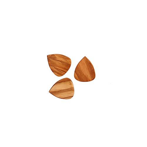 Alnicov 3 plettri in legno per chitarra elettrica, acustica o basso, in legno di ulivo