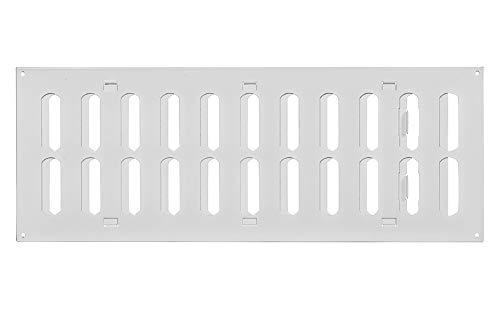 Weiß 400x150mm Lüftungsgitter aus Metall mit verschließbaren Lamellen - Rechteckig