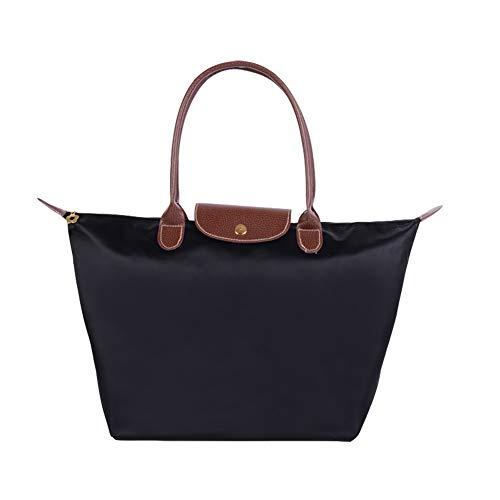 SUVIA Womens Nylon Waterproof Zipper Tote Bag Laptop Bag Travel Hobo Shoulder Bag Beach Bags Ladies Shopping Foldable Tote Bag Casual Bags (Medium, Black)