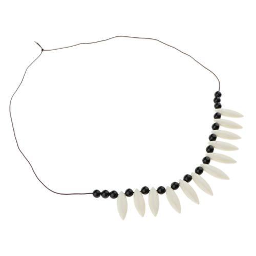 Baoblaze Disfraz De Collar De Cordn De Hueso De Imitacin Tribal De Hawaii Disfraz De Colgantes De Cuentas Salvajes