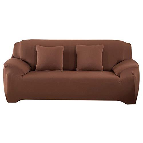 Allenger Universal Cubierta para Sofá,Sofá Elástico Antideslizante Universal Spandex Color Sólido Fundas De Sofá Elásticas-Chocolate_2-Seat Y 2-Seat