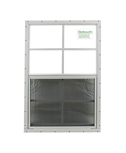 24' X 27' Shed Window Aluminum Frame Safety/Tempered Glass Storage Sheds Playhouse Tree House (White Flush)