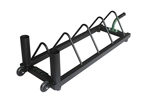 TTCZ Barbell Plate Rack |Horizontal Olympic Bar Storage Rack |Weight Plates Holder with Handle and Wheels-800 lbs Capacity