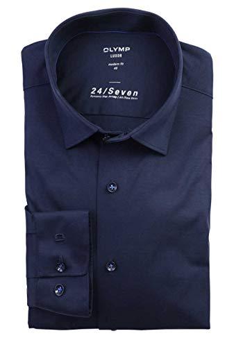 OLYMP Luxor modern fit Hemd 24 / Seven Langarm Jersey Stretch blau Größe 43