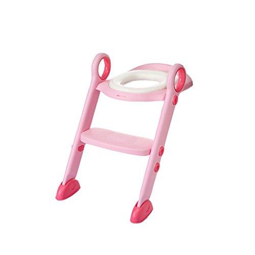 YF BATHROOM YFF-Siège de Toilette pour Tout-Petits Rose Soft Portable et Durable Enfants Potty Seat avec Ladder Boy Girl Pliant siège Toilette Formation (Convient pour 2-8 Ans)