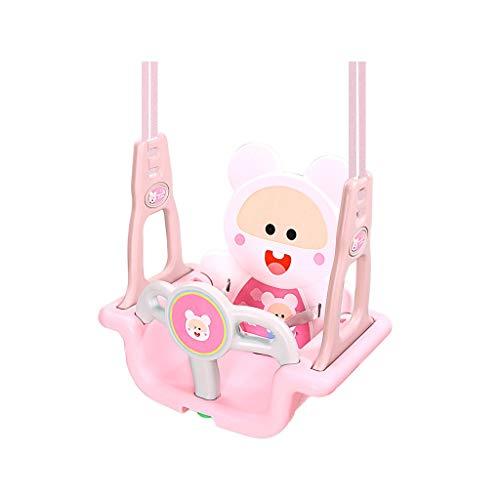 Ffshop Columpio Plegable Silla Colgante para niños Columpio de Juguete para niños en el Interior Colgante Interior para bebé (Rojo, Azul) Oscilación Ajustable (Color : Pink)