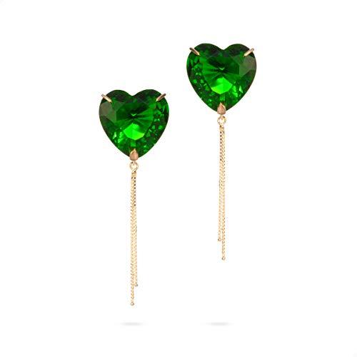 Brinco em ouro 18k coração com corrente com Pedras cor Verde Esmeralda