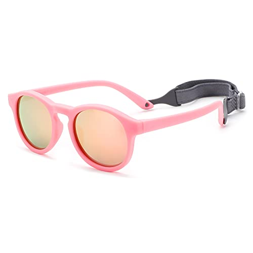 Toddler's First Sunglasses with Strap, Round Flexible 400UV Polarized Baby Sunglasses for Ages 0-3 Years (Pink Frame / Pink Mirrored Lens)