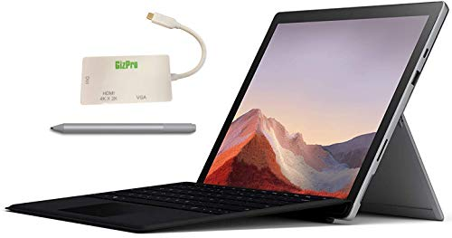 "Microsoft Surface Pro 7 Bundle – 12.3"" Touch - Intel i7-10th Gen 16GB Ram - 512GB SSD–Platinum– Windows Pro - Bundle: Microsoft Surface Pen Platinum, Microsoft Type Cover Black & GIZPRO USB-C Dock"