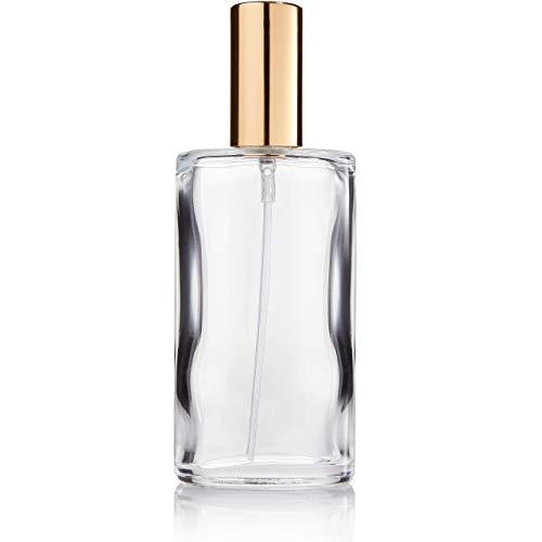 Fantasia, Vaporizzatore per profumo vuoto, in vetro trasparente, con pompetta e coperchio dorato, 100 ml