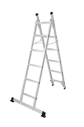 Escalera de aluminio 3 en 1, escalera de 3 escalones, plegable, 11 niveles, extensible hasta 250 cm