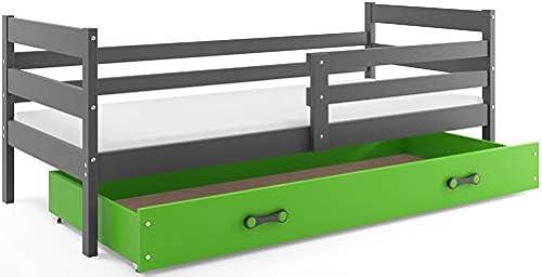 Kinderbett Juniorbett Eryk 190x90cm, Farbe  GRAU; mit Lattenroste und Matratze (grau + Größe Schublade)