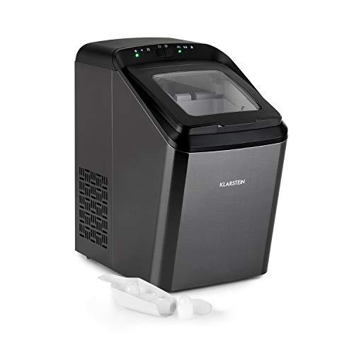 KLARSTEIN Partytime - Machine à glaçons, 15kg/24h, 2 tailles de glaçons: S & L, temps de production en 7 minutes, glaçons par cycle: 9, réservoir d'eau de 2,9L, écran LCD, minuterie (Noir)