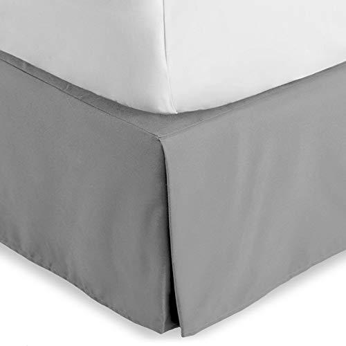 Bare Home Bettrock doppelt gebürstete Premium-Mikrofaser, 38,1 cm, zugeschnitten, fallende Plissee, Staub-Rüschen, 1800 ultraweich, schrumpft und verblasst nicht (Full XL, hellgrau)