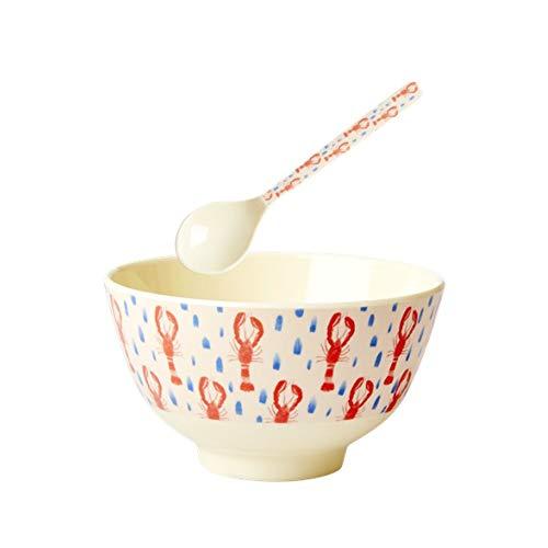 Rice Essens-Set für Kinder, kleine Schüssel und Löffel aus Melamin, Motiv Homard, Farbe Rot