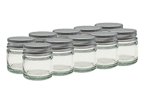 10 x Petit 15ml Transparent Pots De Verre/Pots avec Aluminium EPE doublé Visse Capsules Convient à Baumes Pour Les Lèvres, Plantes, épices, Facecream, Onguents & Bougie