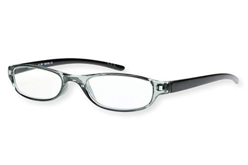 Leesbril lichtgrijs donkergrijs transparant met zwakke beugels ovaal licht voor dames en heren leeshulp kijkhulp 1.0 1.5 2.0 2.5 3.0 13-416 Dioptrien 3.0 Lichtgrijs, donkergrijs, zwarte beugel.