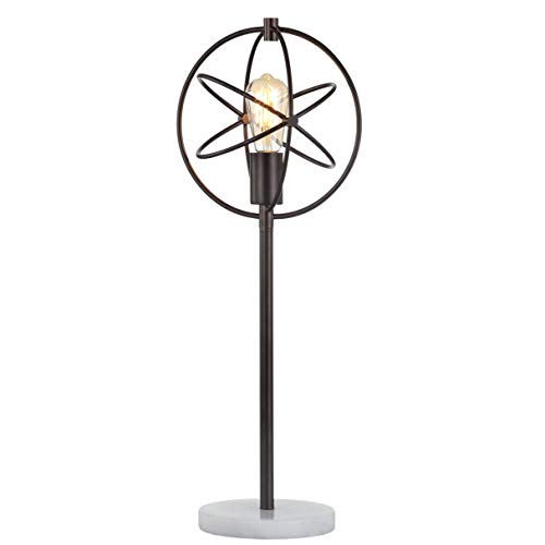 """JONATHAN Y JYL1091A Atomic Caged 26.5"""" Edison Bulb Metal/Marble Modern LED Table Lamp Rustic,Cottage,Industrial for Bedroom, Living Room, Office, College Dorm, Coffee Table, Bookcase, OilRubbedBr..."""