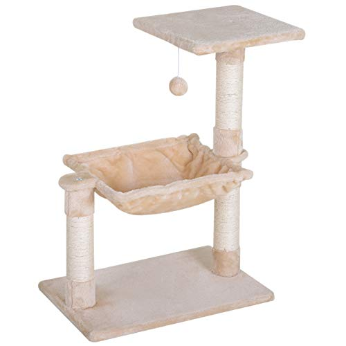 PawHut 70cm Cat Tree Durable Natural Sisal Scratching Posts Hammock Bed...