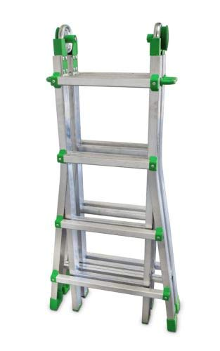 ESCALIBUR - Escalera Telescópica Multiusos de 8+8 Peldaños, Metálico, 115x64x20