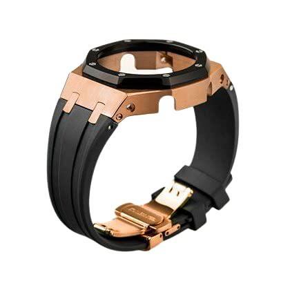 【ジーショック GA-2100 2110用】MY MODEL24 G-shock 腕時計 互換 第三世代 ステンレス ケース ラバーストラップ カシオーク カスタマイズ (ベゼル:rose black case バンド:black)