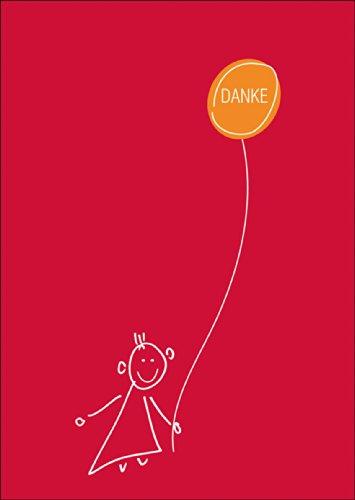 Vrolijke Bedank-mij vouwkaart met geïllustreerd kind en ballon • ook voor het direct verzenden met uw persoonlijke tekst als inlegger. • Elegante vouwkaart met envelop om te bedanken, zakelijk & privé