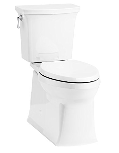 KOHLER 3814-0 Two (TM) Corbelle Comfort Height(R) elongated 1.28 gpf toilet with skirted trapway and Revolution 360 swirl flushing technology and left-hand trip lever (2 Piece), White