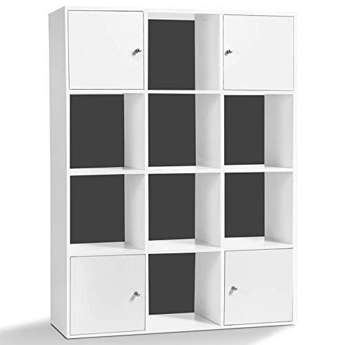 IDMarket - Meuble de Rangement Cube Rudy 12 Cases Bois Blanc avec Portes Fond Gris